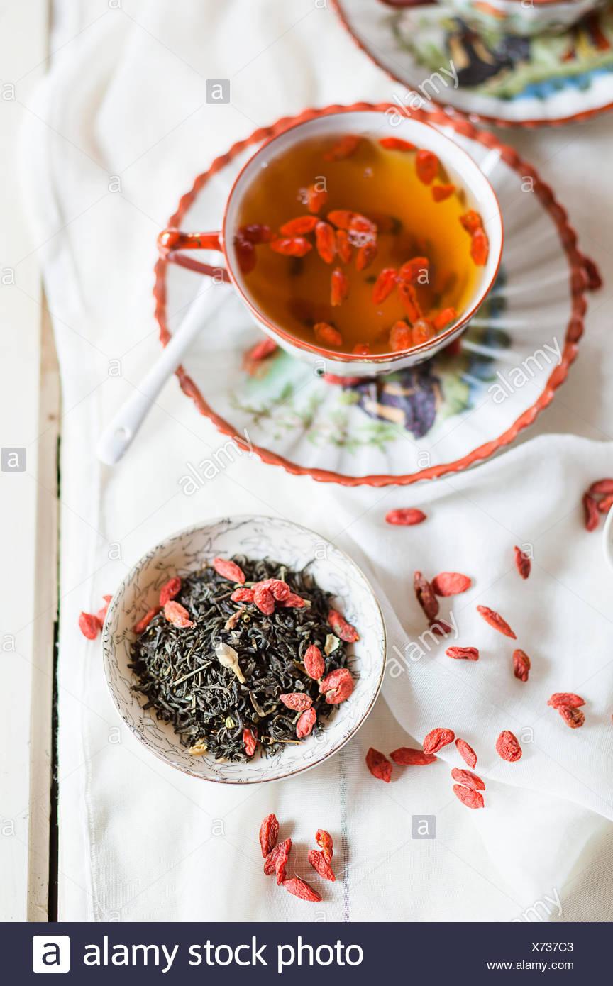 Cup Of Green Jasmine Tea With Dried Goji Berries Lycium Barbarum
