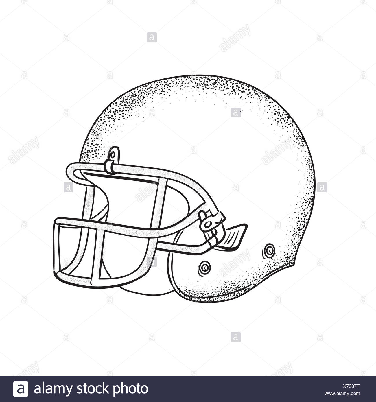 American Football Helmet Black And White Drawing Stock Photo
