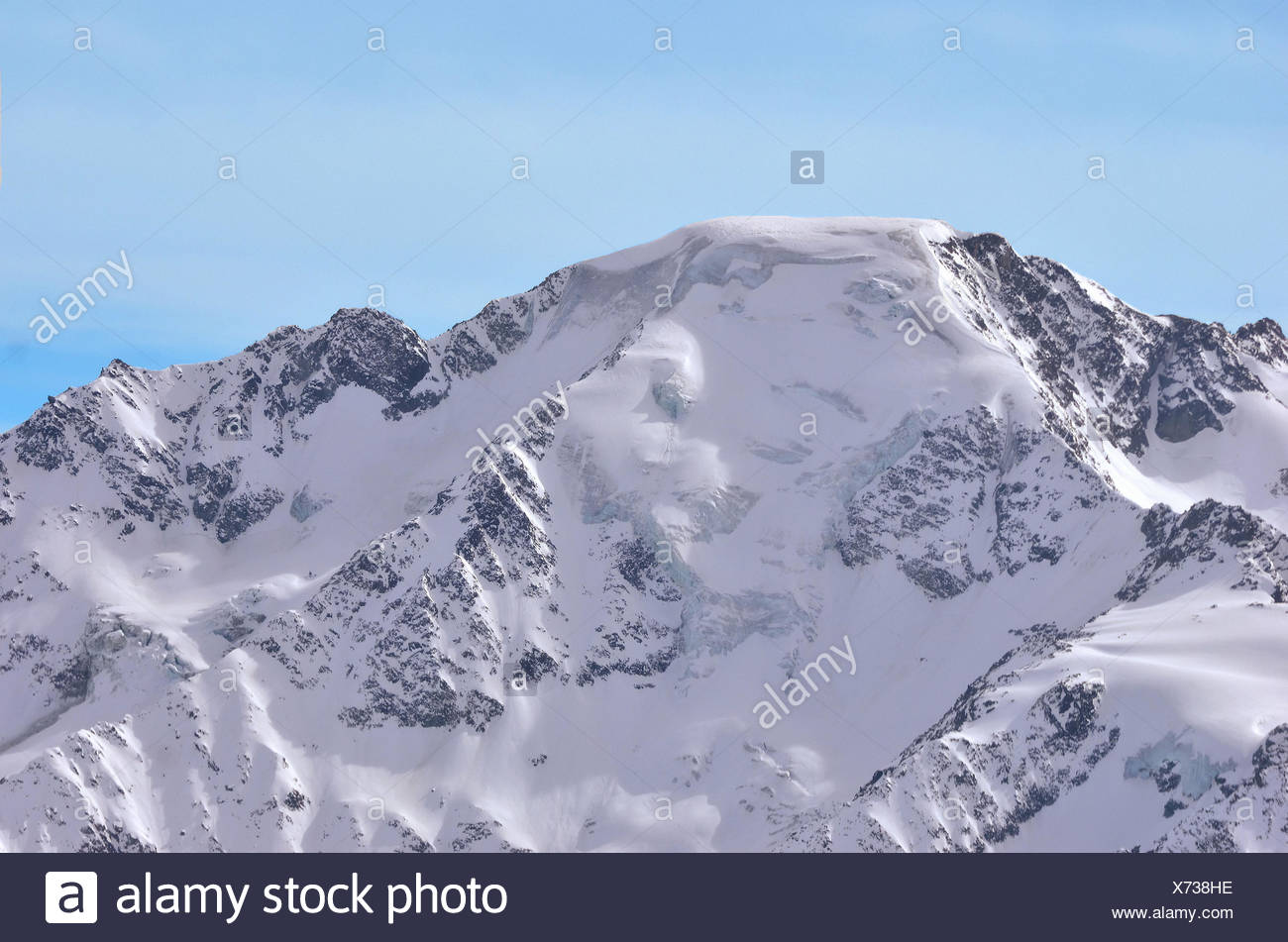 One of the highest alpine peaks, the north east face of the Grand Combin on the Swiss - Italian border, near to Verbier. Viewed f - Stock Image