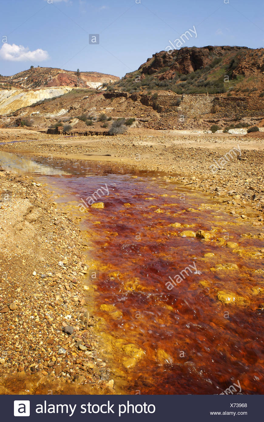 Rio Tinto river, its deep reddish hue is due to iron dissolved in the water. Huelva province, Andalusia, Spain - Stock Image