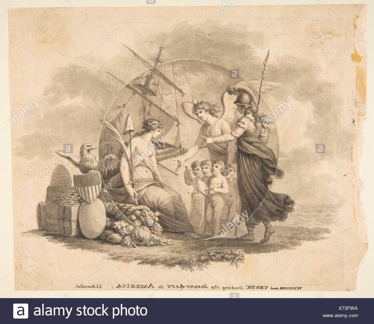 Wisdom and Truth Leading the Infant Arts to America. Artist: John James Barralet (Irish, Dublin ca. 1747-1815 Philadelphia, Pennsylvania); Date: - Stock Image