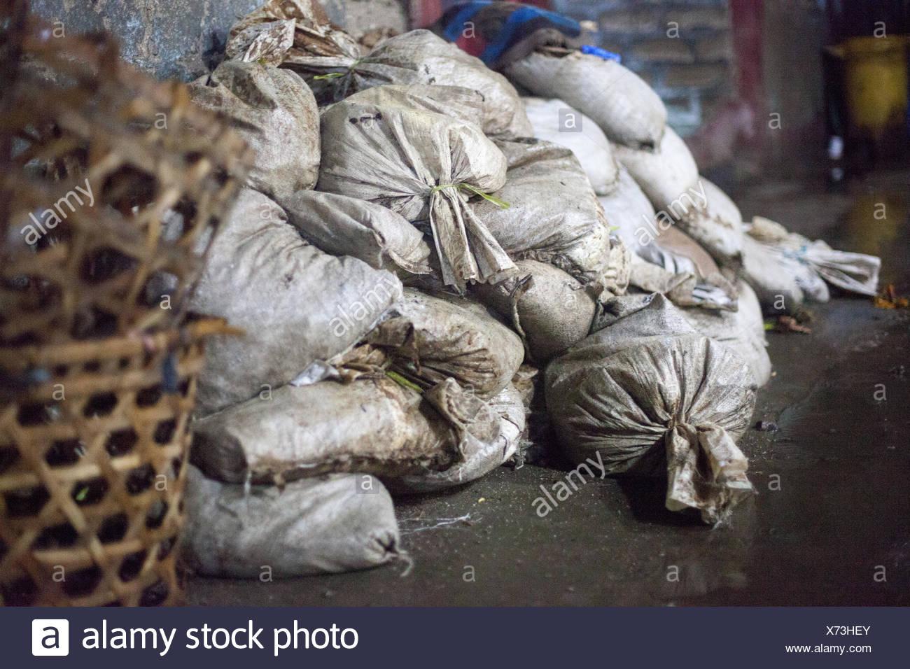 Heap Of Dirty Sacks - Stock Image