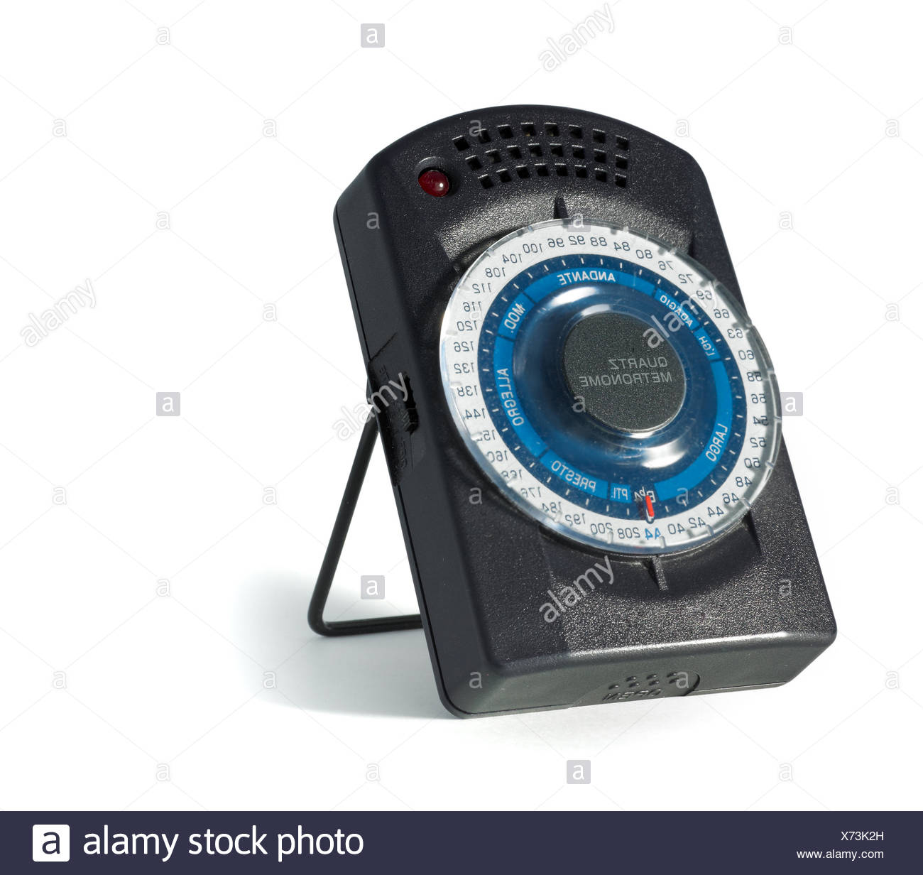 metronome isolated on a white background - Stock Image