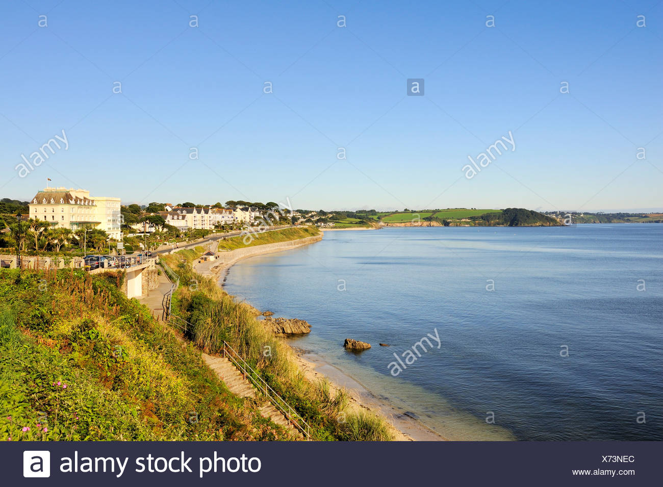 Overlooking the Bay of Falmouth, Cornwall, England, UK, Europe Stock Photo