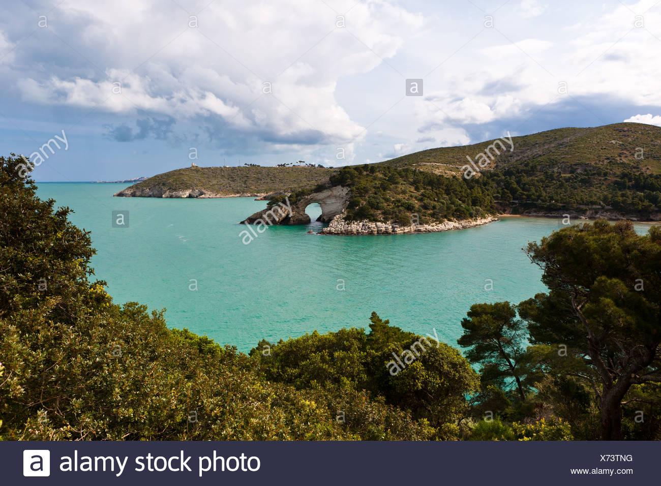 Coast near Gargano, Architello San Felice, also known as the spur of the Italian boot, Foggia Province, Apulia, Puglia, Gargano - Stock Image