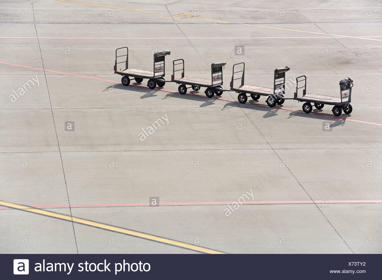 Luggage cart, Zuerich Airport, Switzerland, Europe - Stock Image