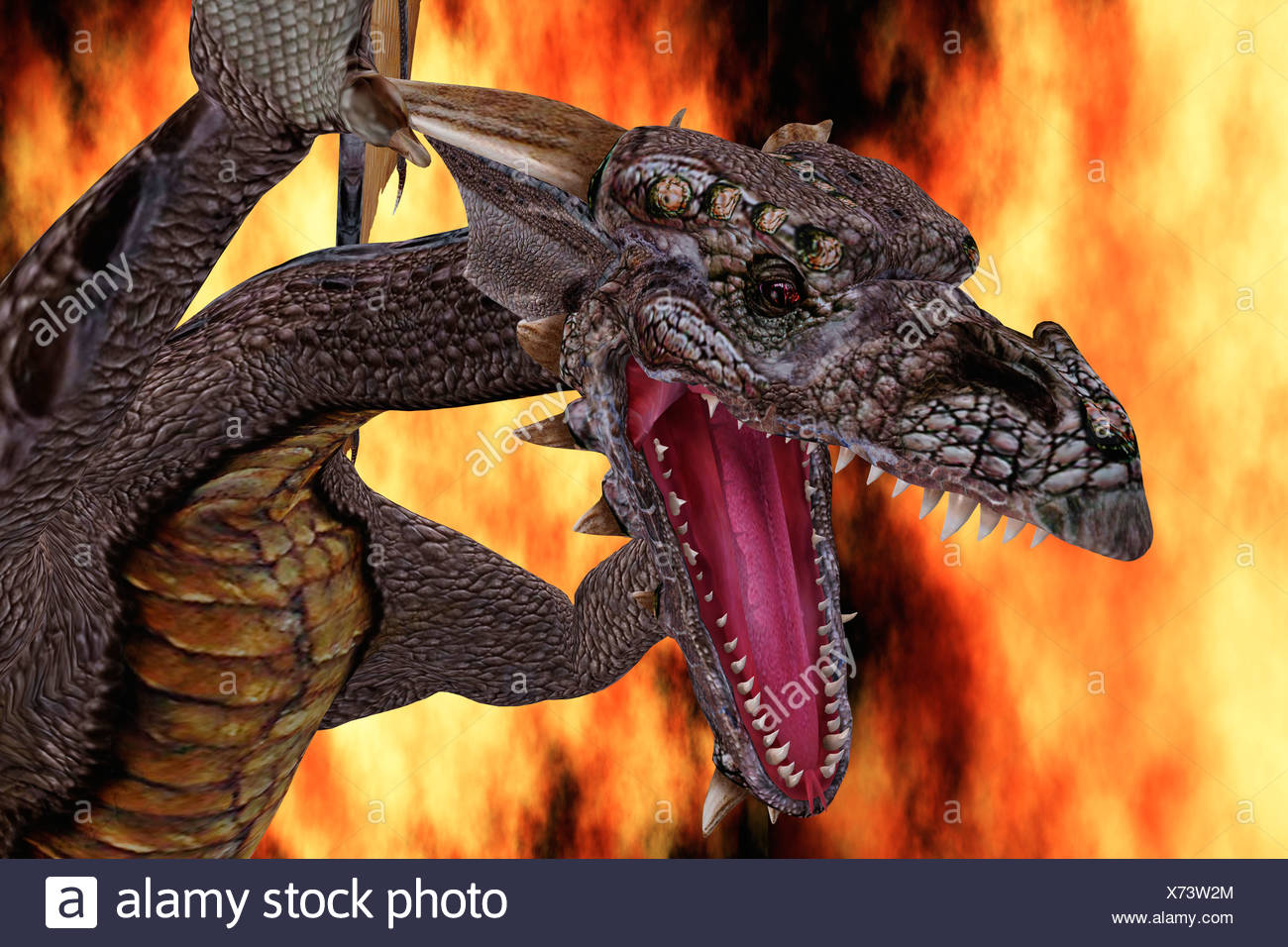 Computer Generated Image Of A Dragon - Stock Image