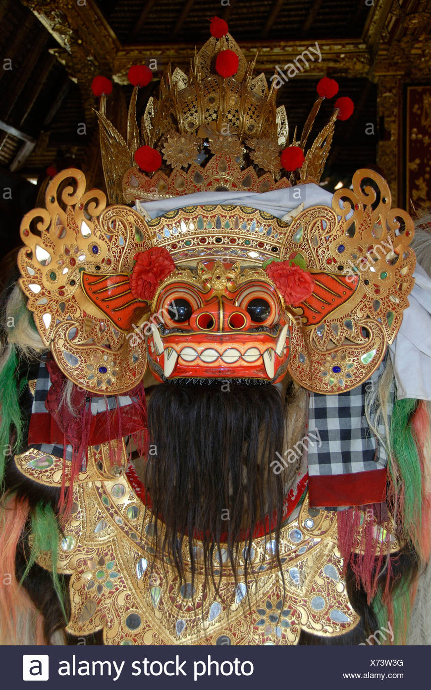 Arts and culture, Barong mask, mystical mythical creature, Ubud, Bali, Indonesia, Southeast Asia, Asia - Stock Image