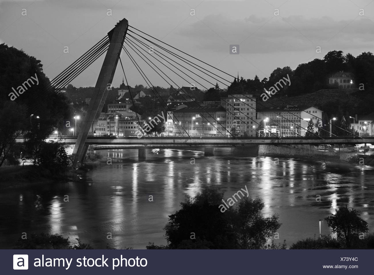 lights on the rhein-river - Stock Image