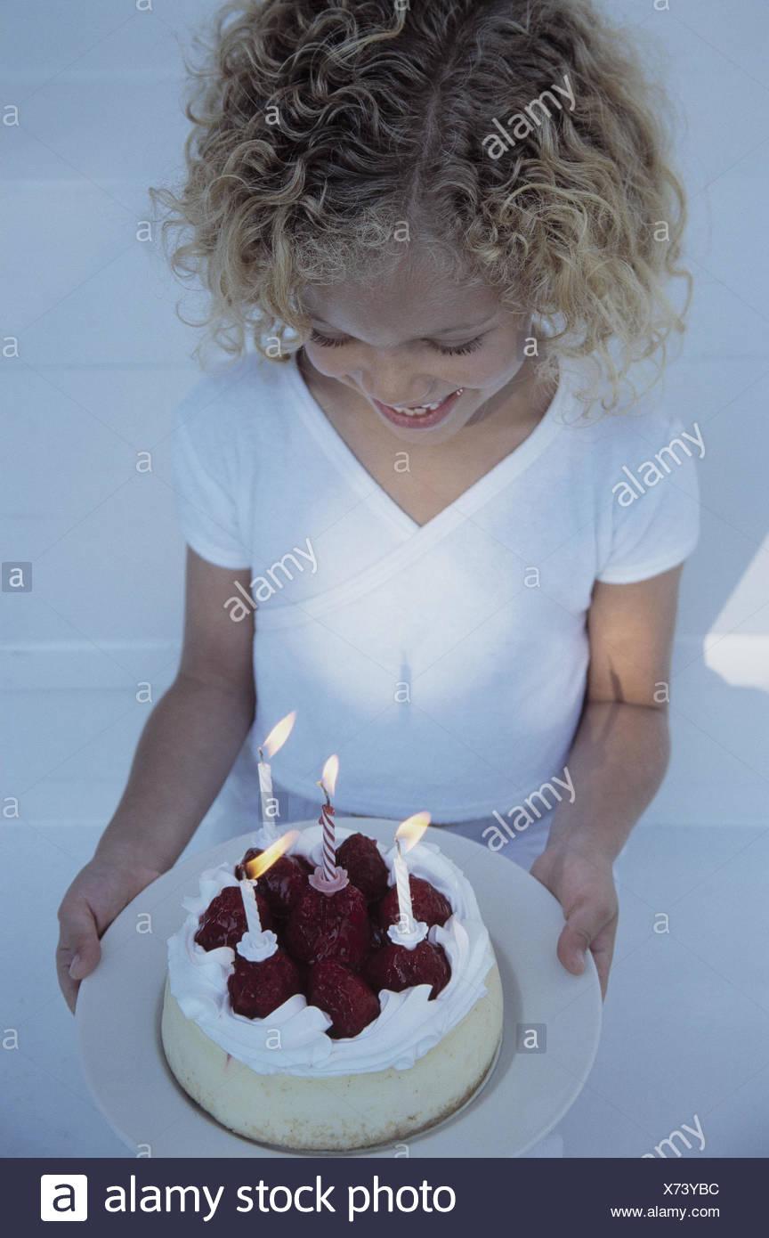 Girls Joy Birthday Cake Half Portrait Inside Child Blond Curls Cakes Boy Happy Pride Childhood Candles