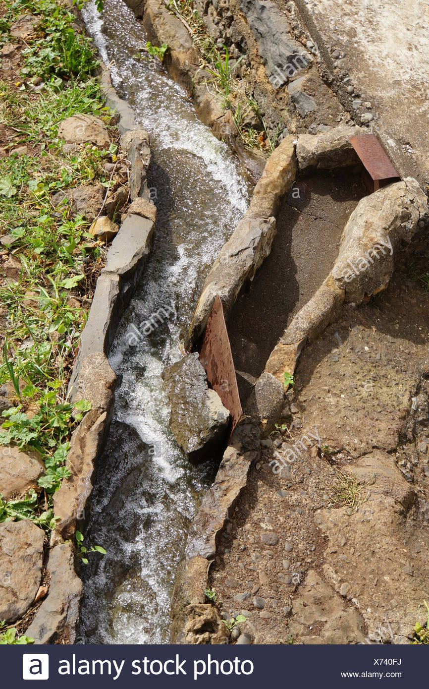 turnout of an irrigation canal - Stock Image