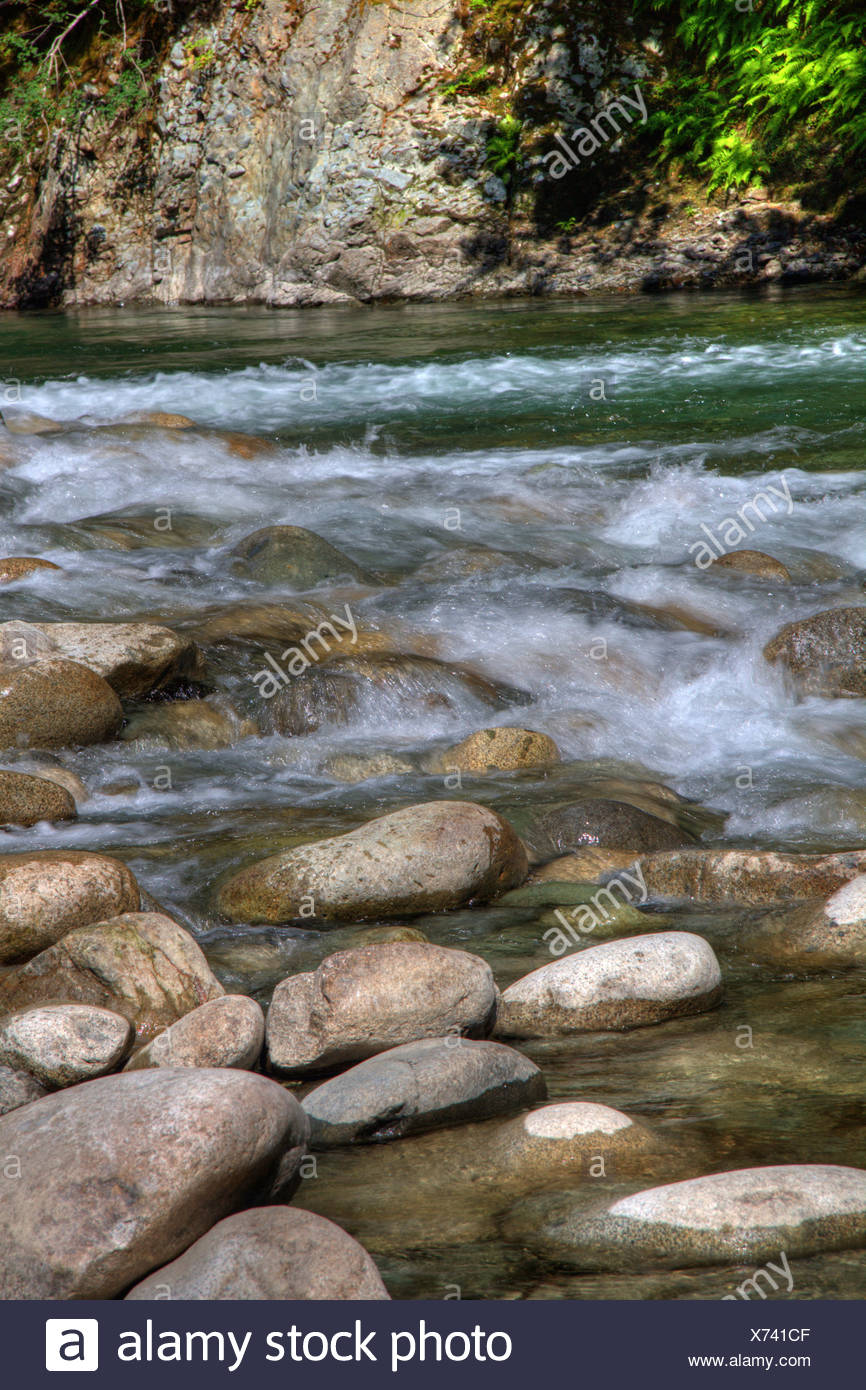 Clear running water along Chehalis River flowing through Canyon, near Harrison Mills, BC - Stock Image