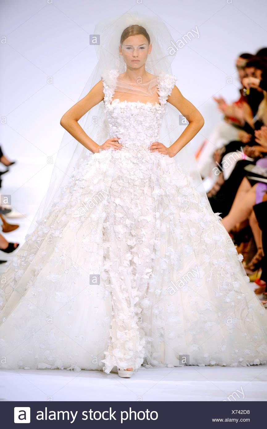 Elie Saab Paris Haute Couture Autumn Winter Model Wearing A White