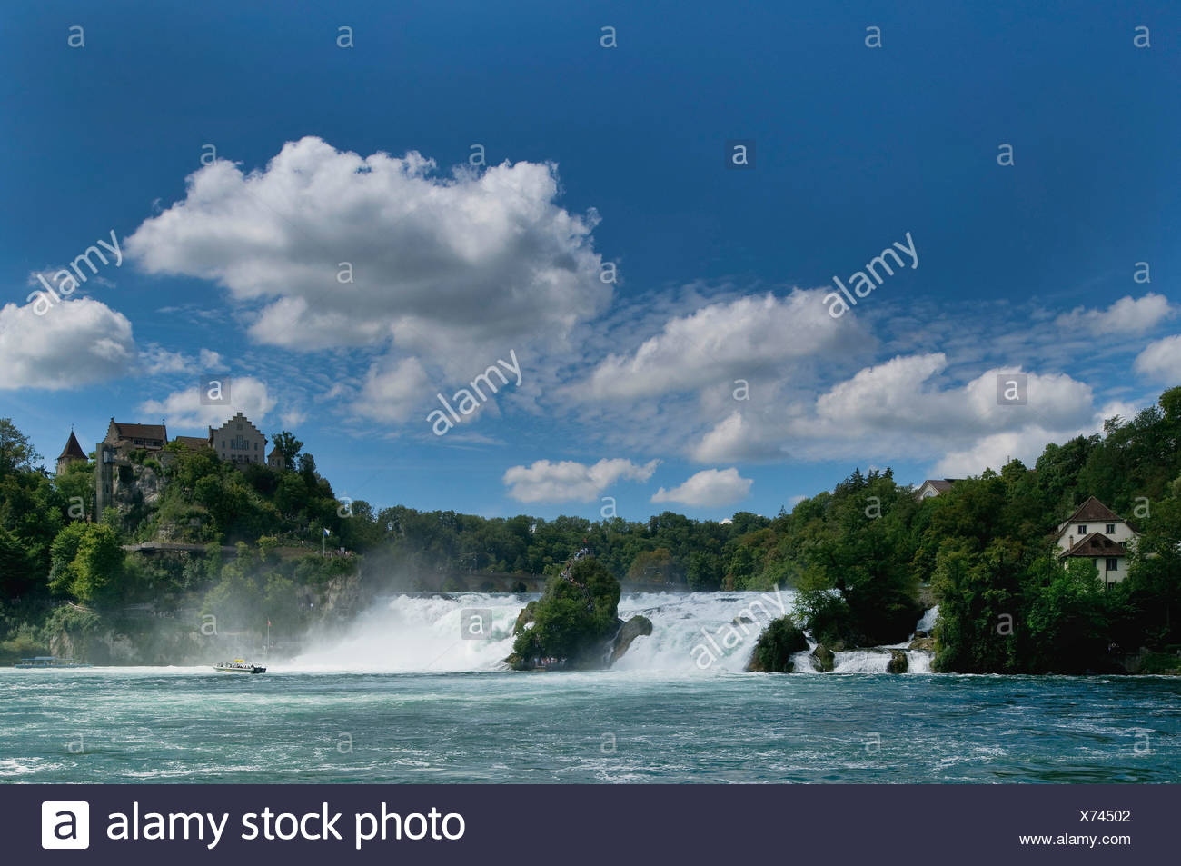 Rhine Falls near Schaffhausen, waterfall, Switzerland, Europe - Stock Image