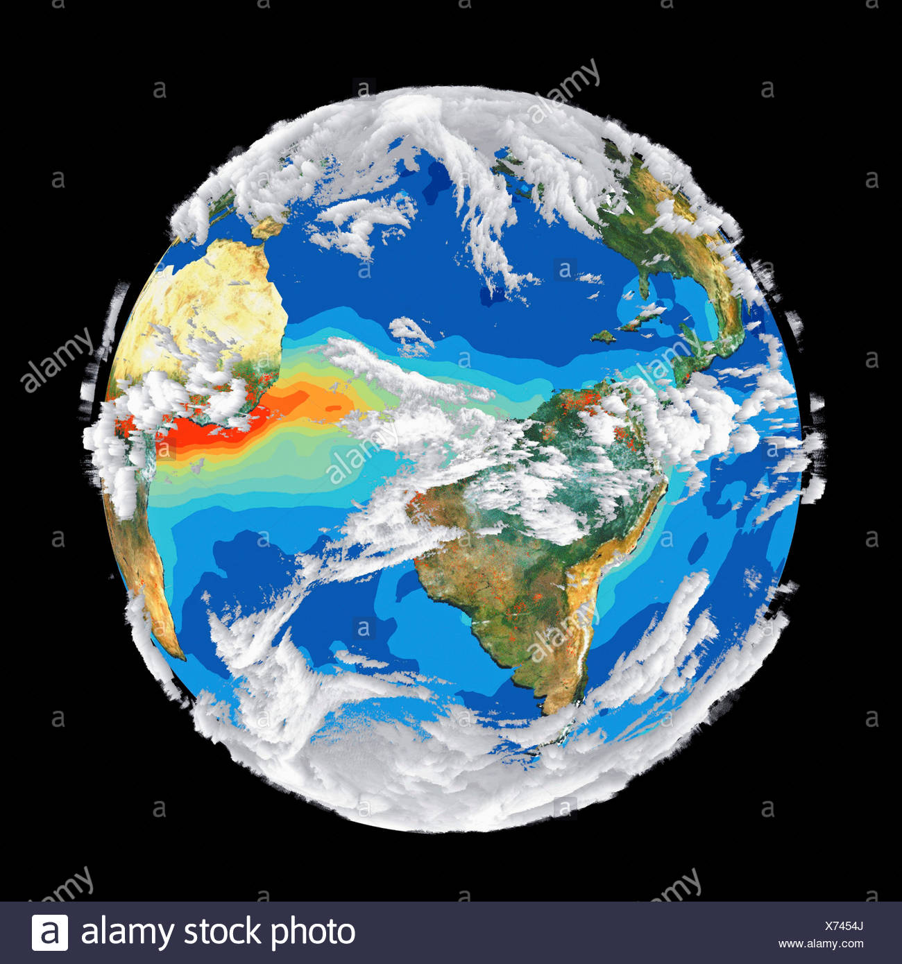 Satellite Image of Earth's Interrelated Systems and Climate - Stock Image
