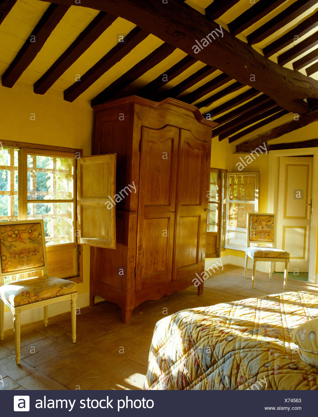 Large Antique Wardrobe And Beamed Ceiling In Sunlit Tuscan