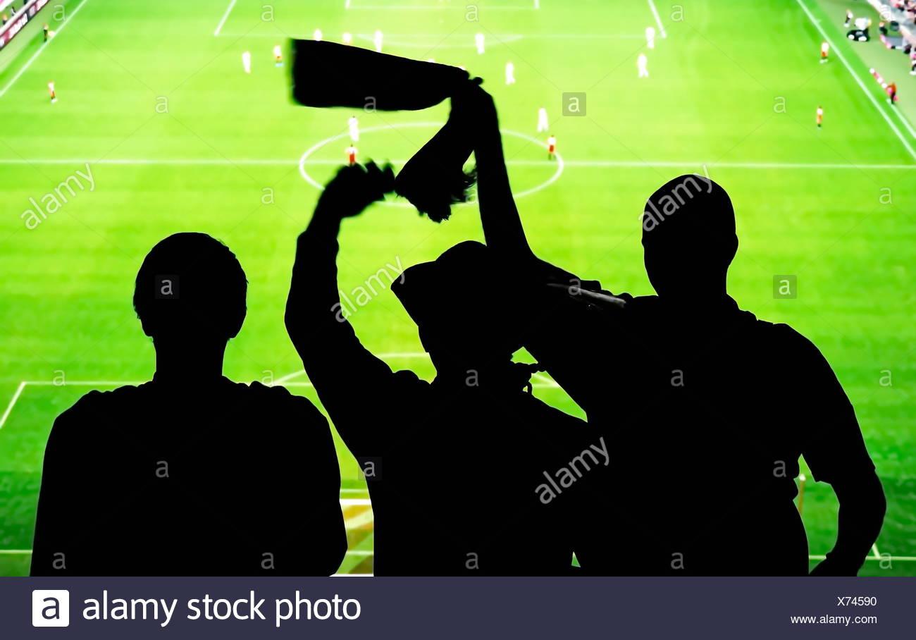 Fußball Fans im Stadion - Stock Image