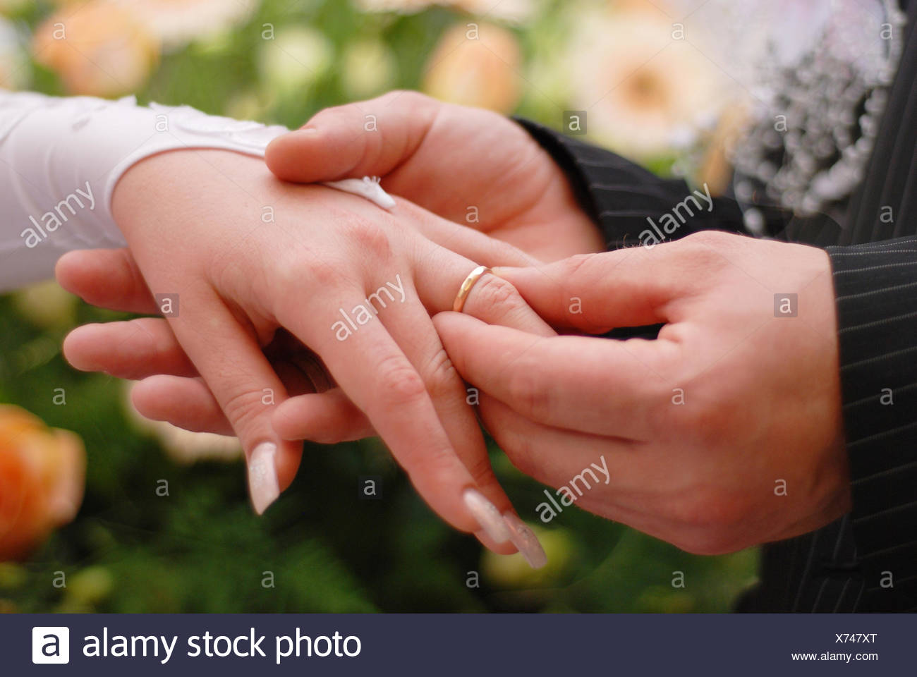 ring handover Stock Photo