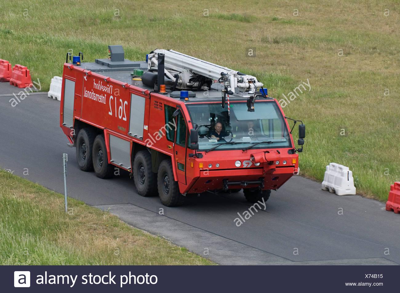 Emergency vehicle of the fire brigade, Duesseldorf International Airport, Duesseldorf, North Rhine-Westphalia, Germany, Europe - Stock Image