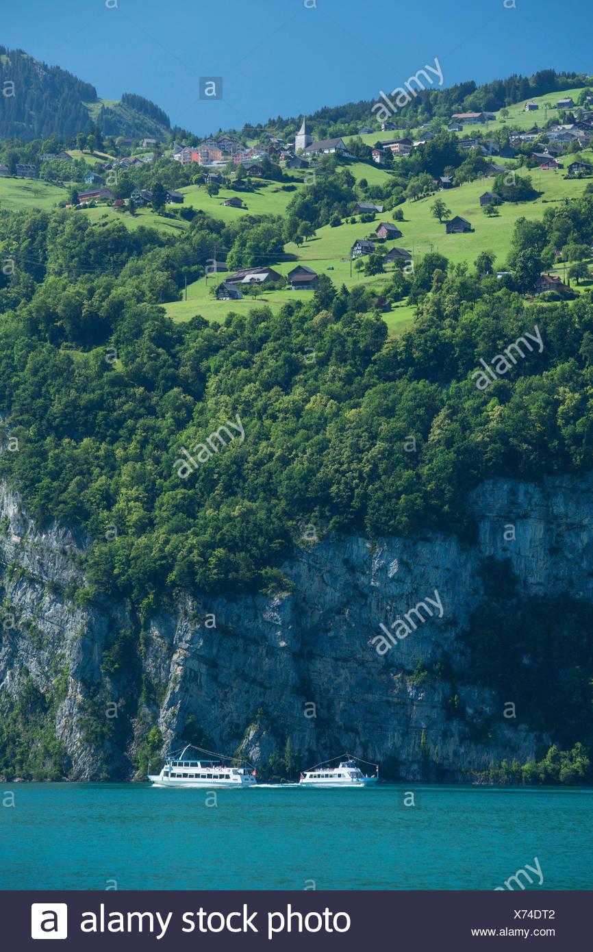 Walensee, Amden, ship, boat, ships, boats, lake, lakes, SG, canton St. Gallen, mountain, mountains, Switzerland, Europe, - Stock Image