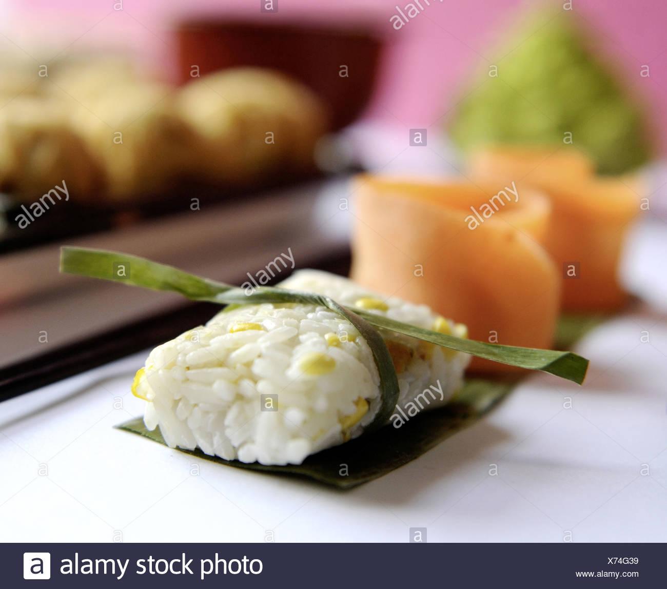 Rice sweet corn dumplings - Stock Image