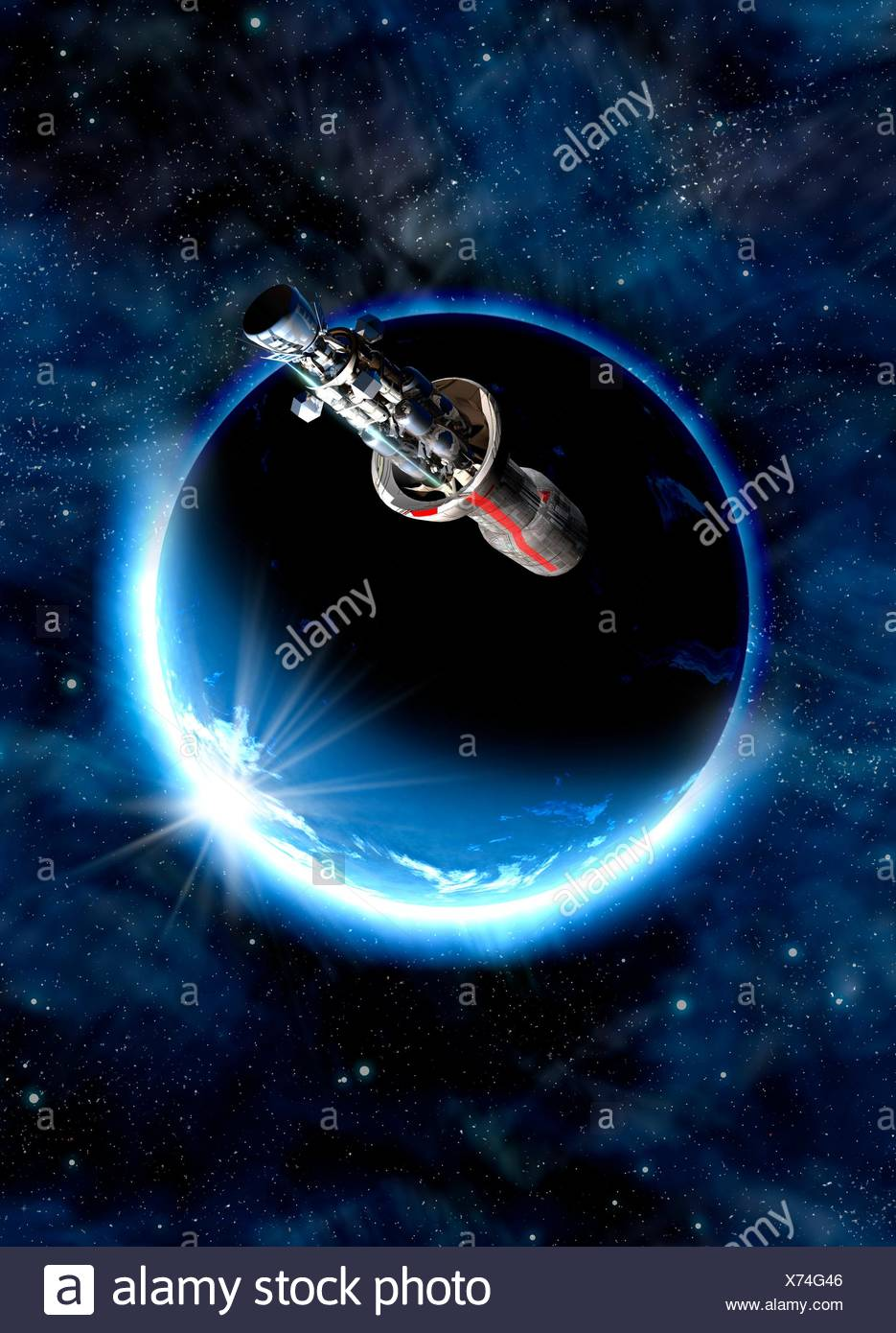 Spacecraft and planet, illustration. - Stock Image