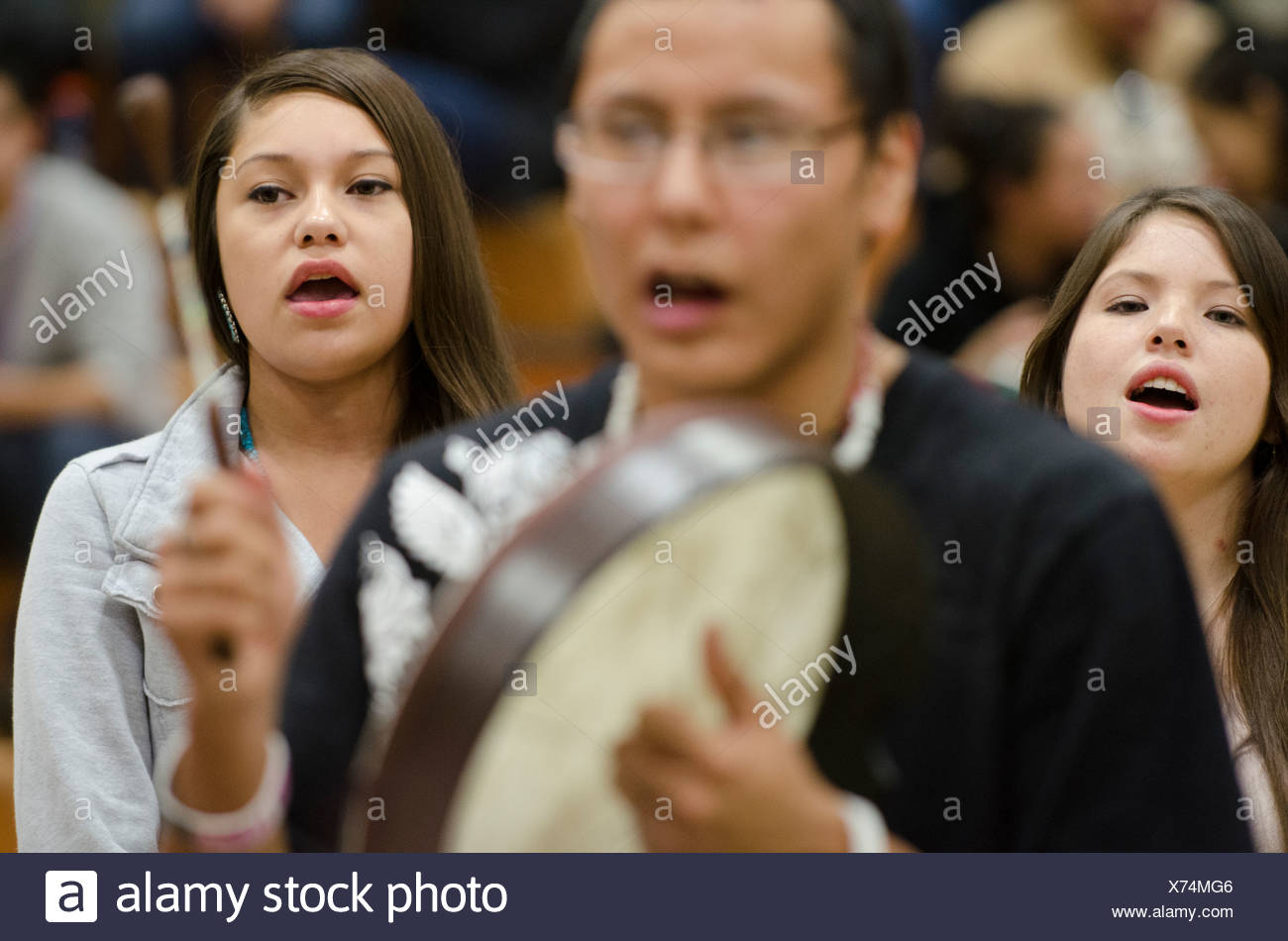Mid-winter round dance, Ft. Peck Reservation - Stock Image