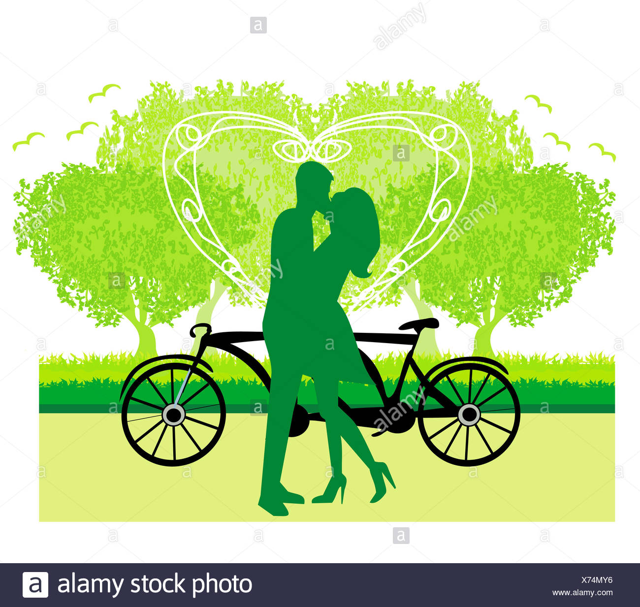 sillhouette of sweet young couple in love standing in the park - Stock Image