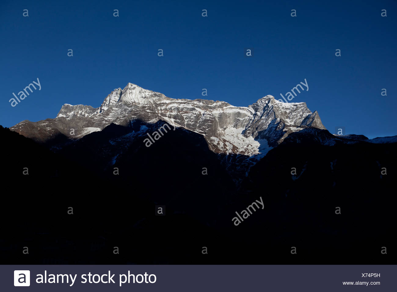 The landscape prone mountainside view from Namche Bazaar, Nepal. - Stock Image