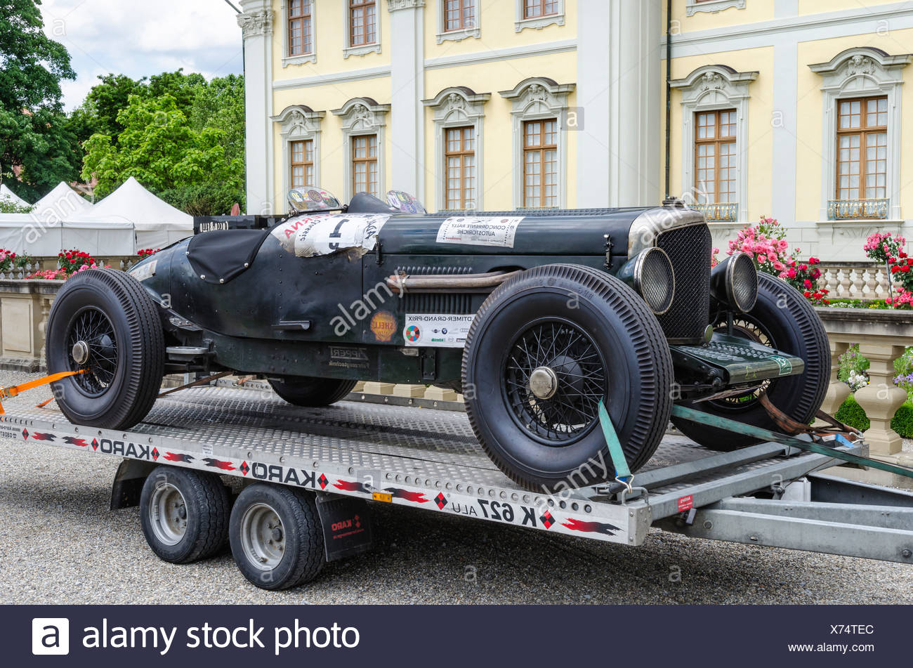 Historic racing car, Bentley 4 _, built in 1940, on a trailer, Classics meets Barock classic car meeting, Ludwigsburg Palace, - Stock Image
