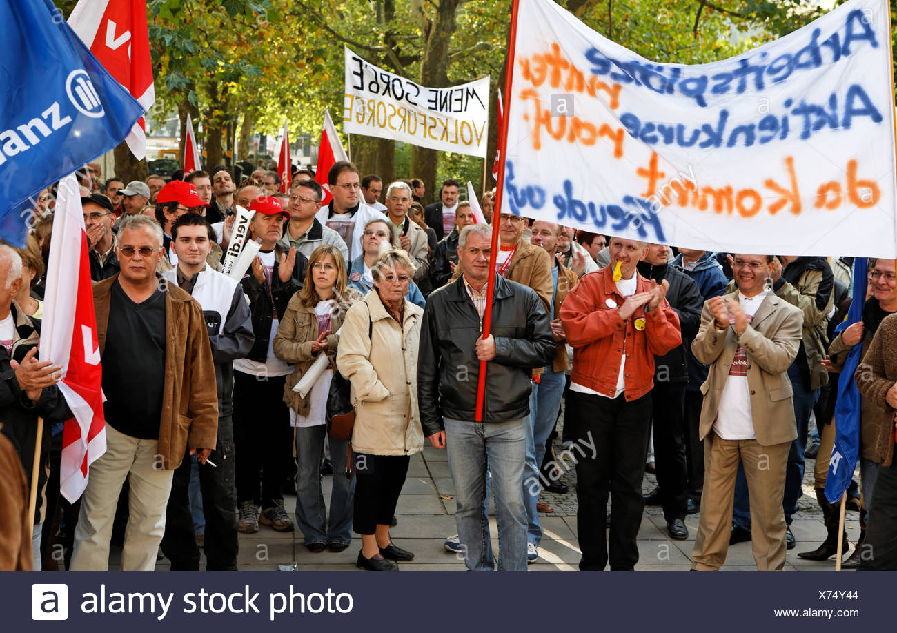 17.10.2006, demo against the cost cutting policy of the Generali concern, Stuttgart, Baden-Wuerttemberg, Germany - Stock Image