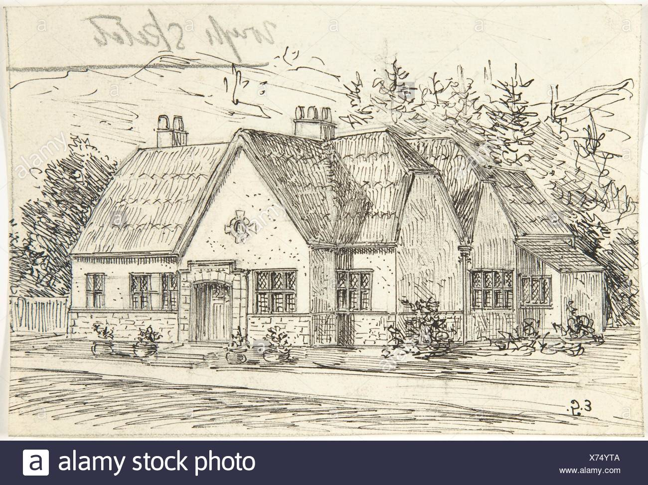 Thatched Roof Stone Cottage. Artist: Ernest Geldart (British, London 1848-1929); Date: late 19th-early 20th century; Medium: Pen and black ink over - Stock Image