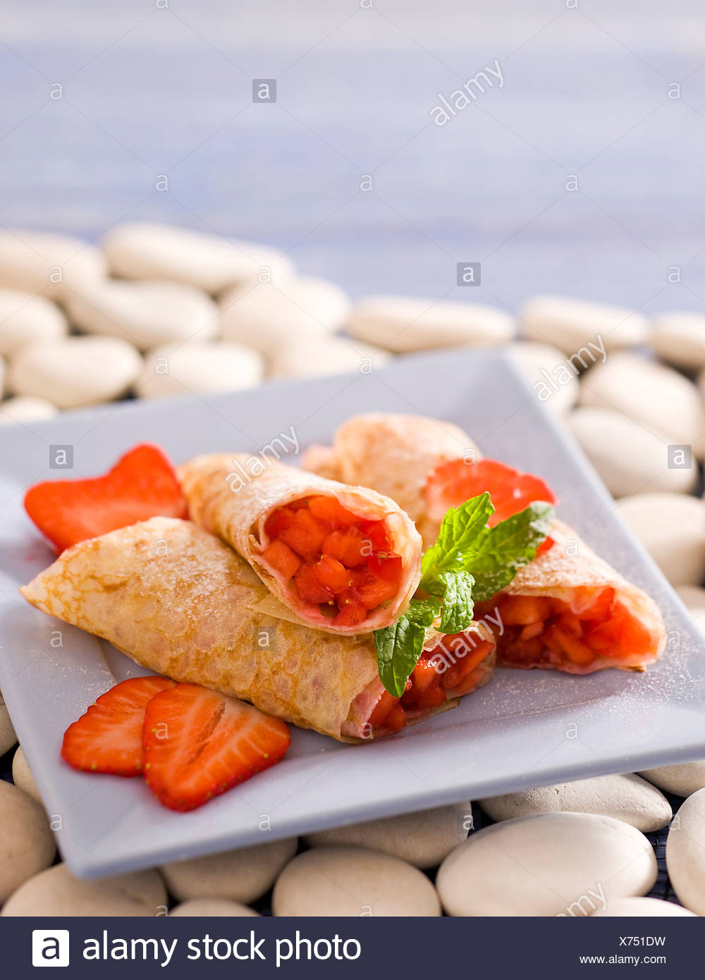 Strawberries Pancakes in Rolls - Stock Image