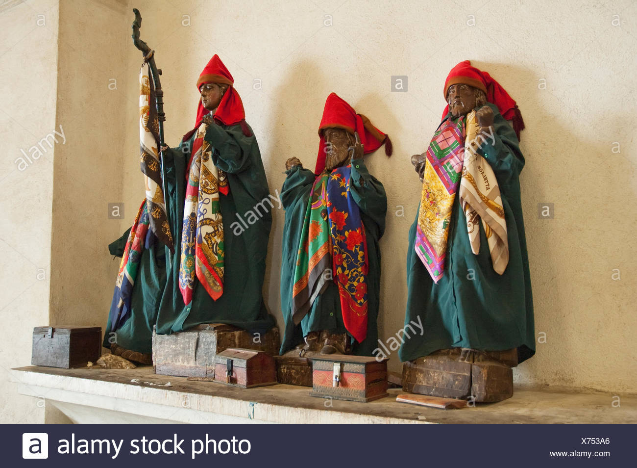 The Dressed Statues Of The Saints In The Santiago Ap - Stock Image