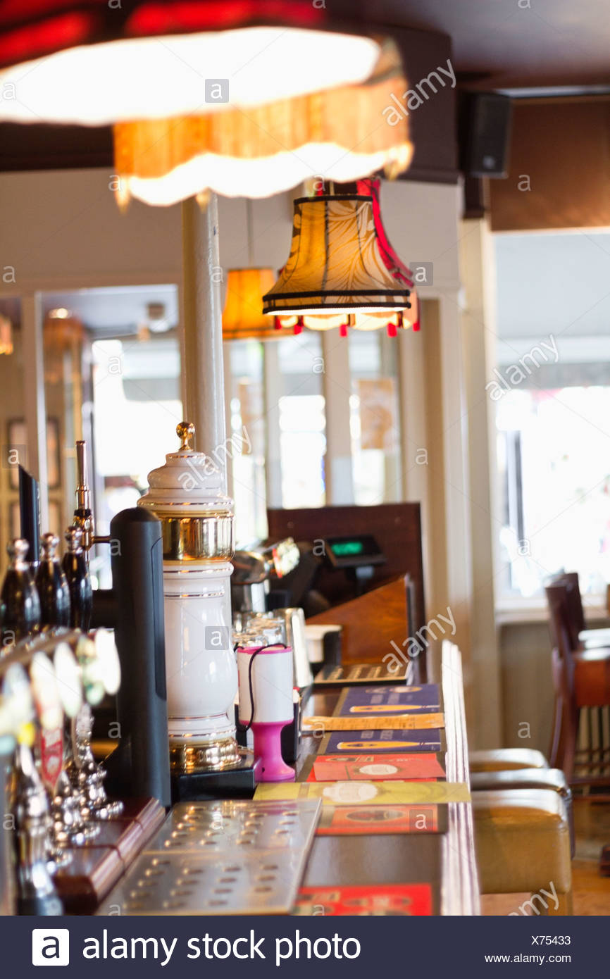 Interior of a pub, bar counter - Stock Image