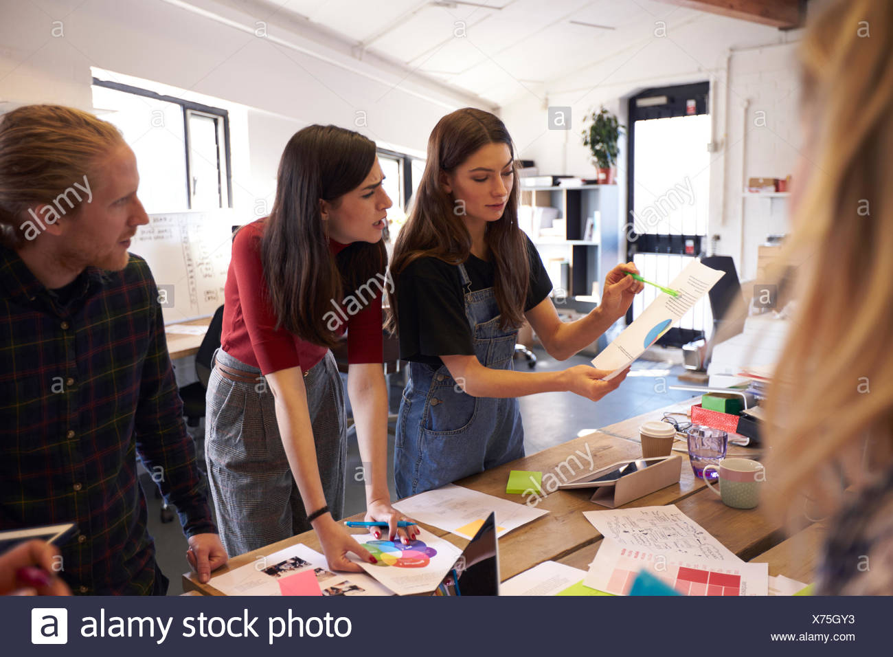 Creative Brainstorming Meeting In Design Office - Stock Image