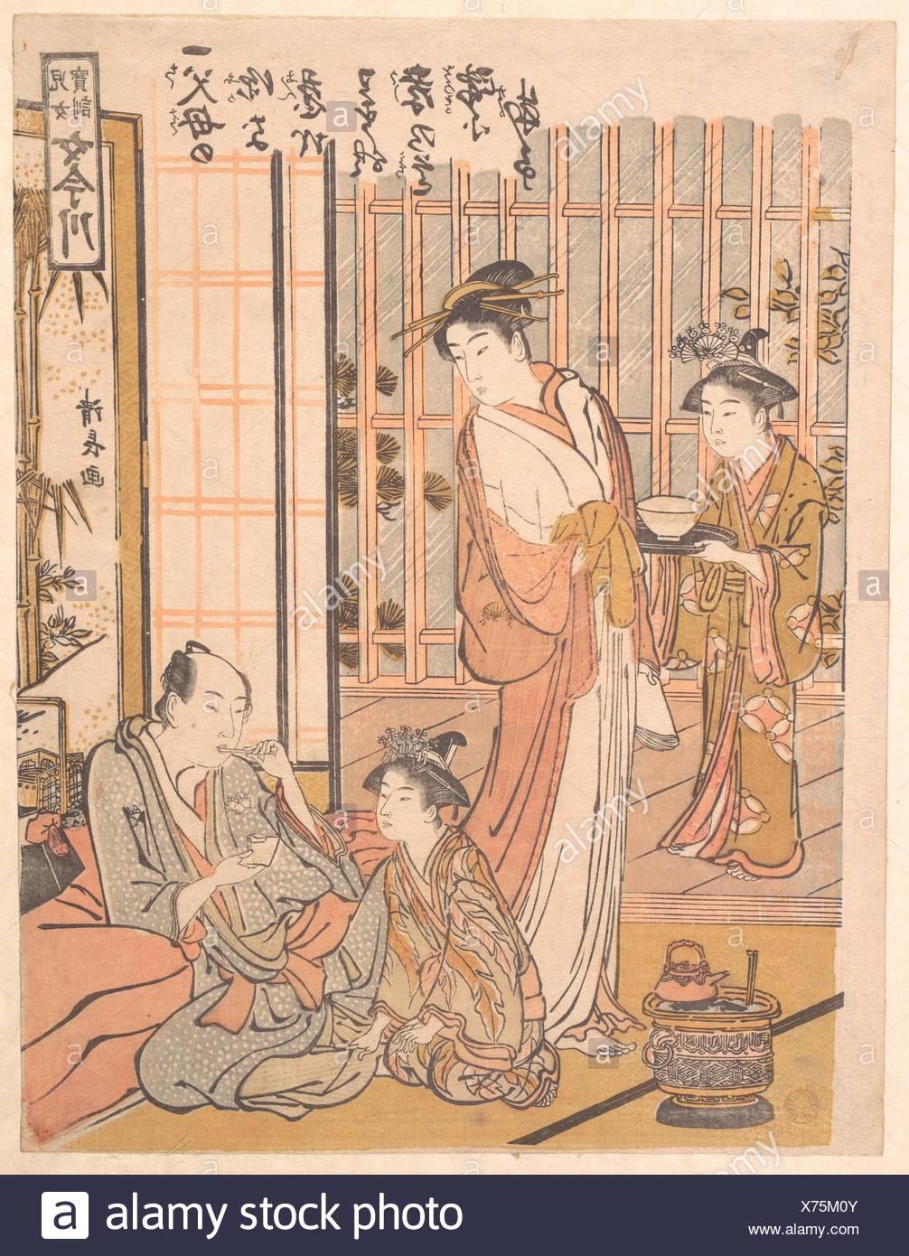 Forgetting Filial Piety. Artist: Torii Kiyonaga (Japanese, 1752-1815); Period: Edo period (1615-1868); Date: ca. 1781; Culture: Japan; Medium: Stock Photo