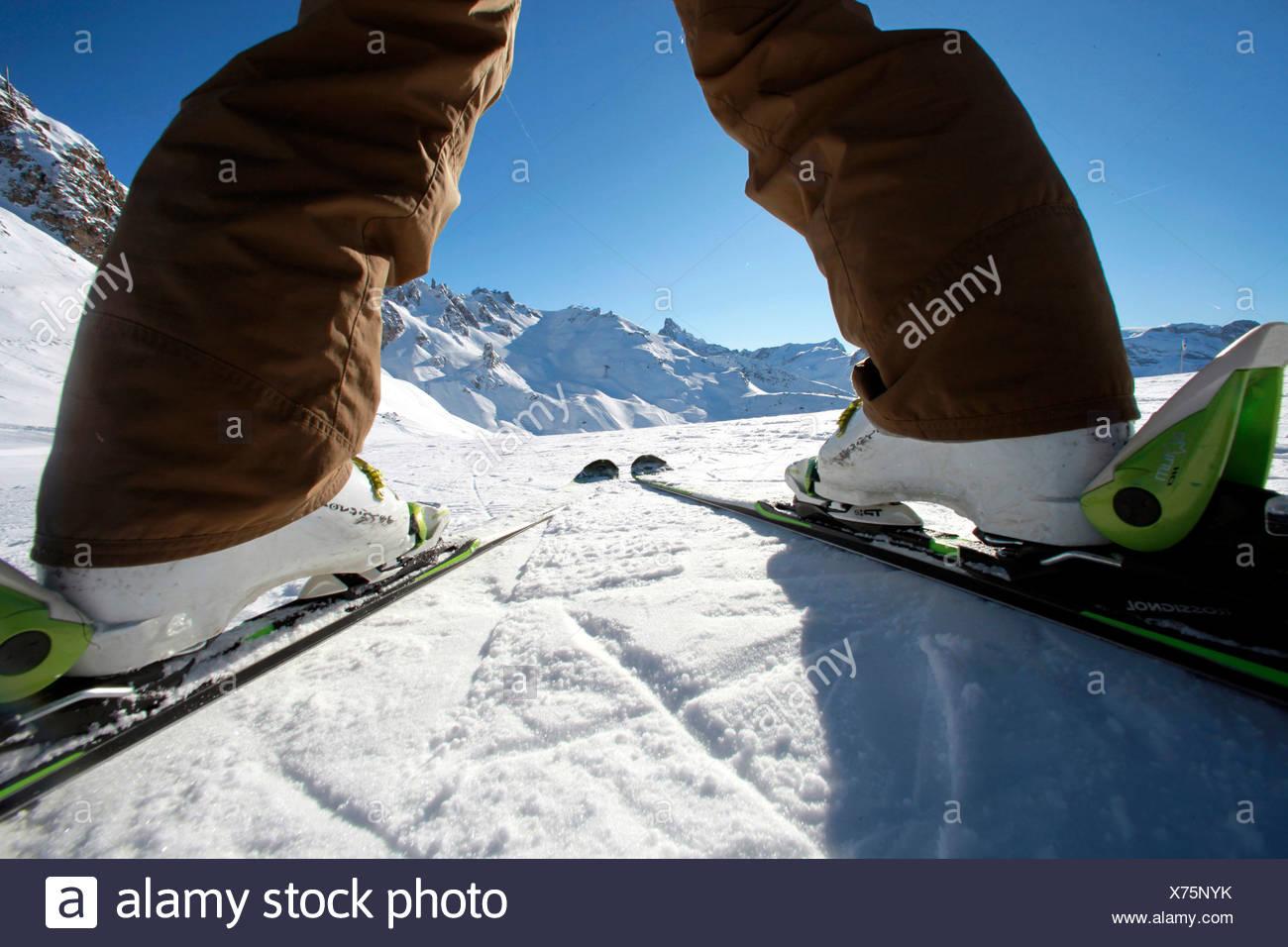 France, Alps, Savoie, Courchevel 1850, female skier - Stock Image