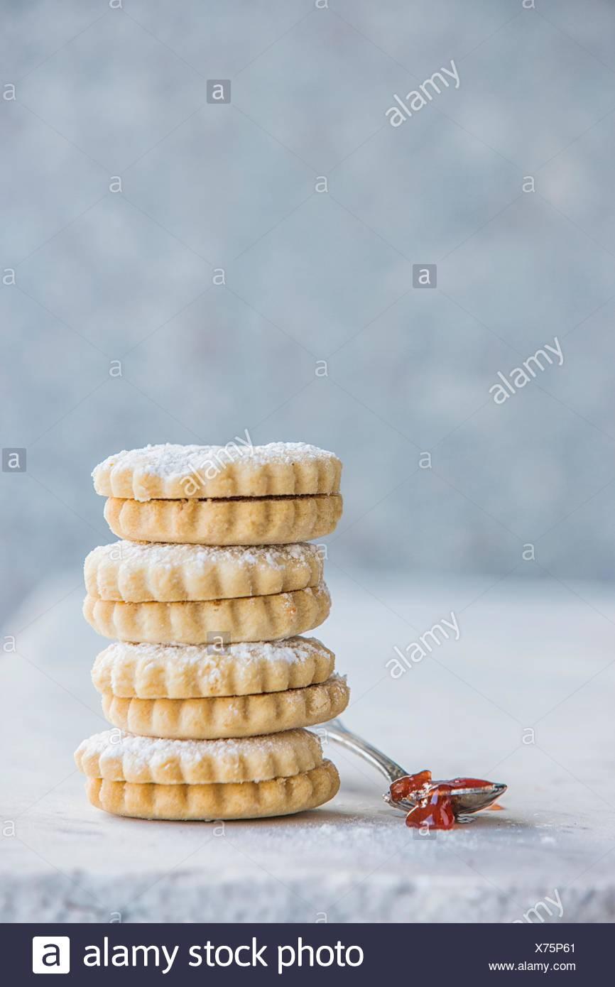 Stack of Italian cookies - Stock Image