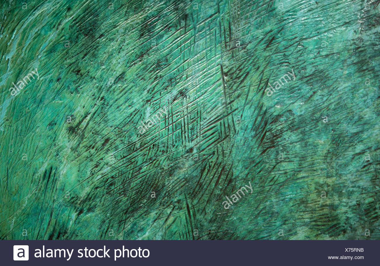 Patina textured bronze detail. - Stock Image