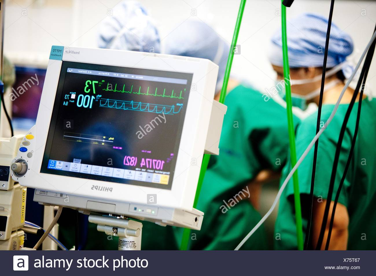 Anaesthetic monitoring equipment during surgery, St Antoine hospital