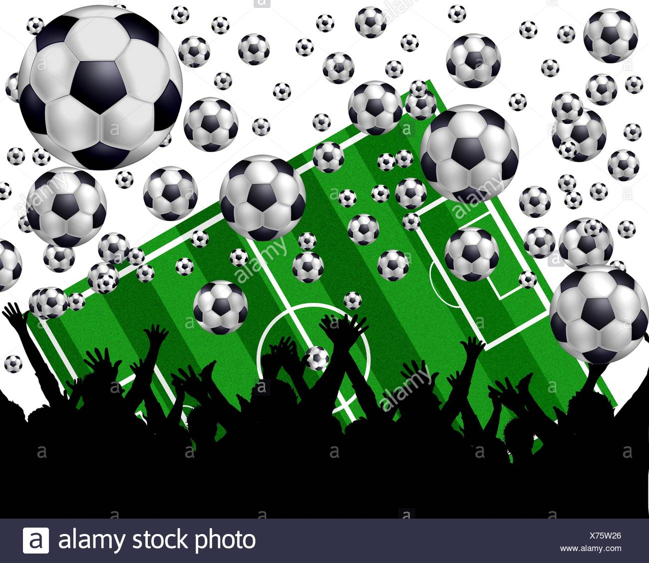 fussball playing field and fans - Stock Image