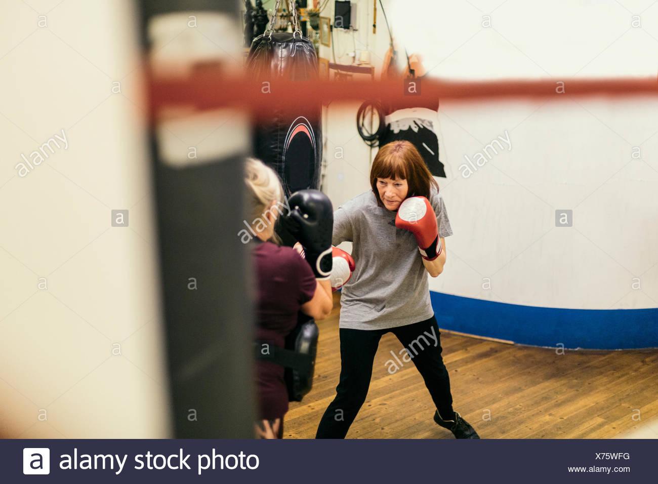Senior women boxing - Stock Image