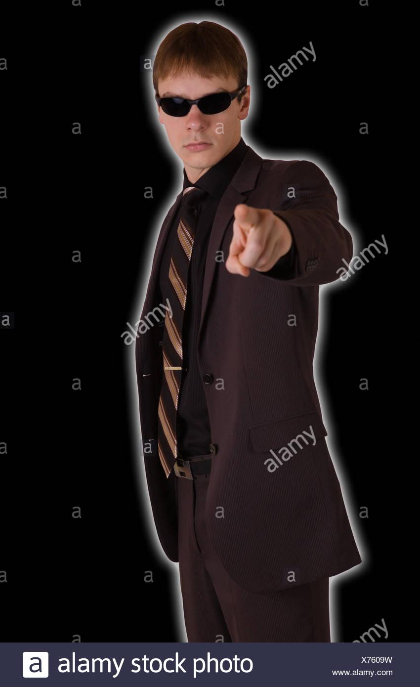 Finger points forward - Stock Image
