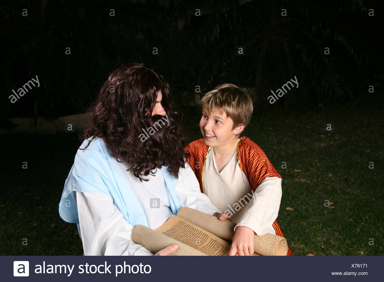 Learning the scriptures - Stock Image