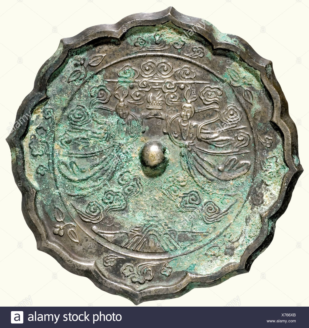 A Bronze Mirror, China, Tang Dynasty, 9th Century A.D. Cast White Bronze  With