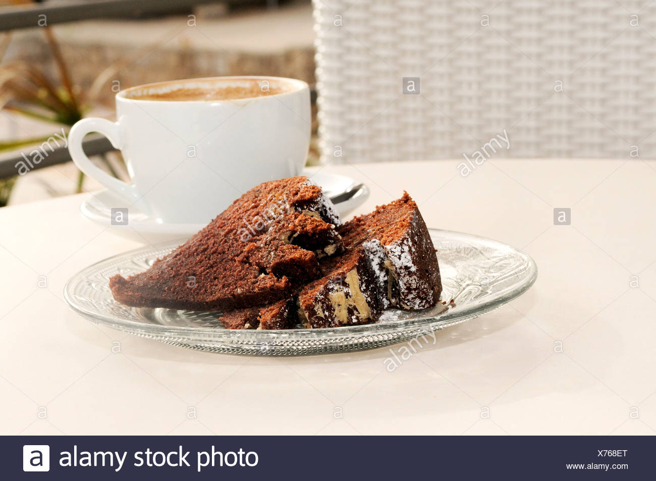 Chocolate cake and coffee - Stock Image