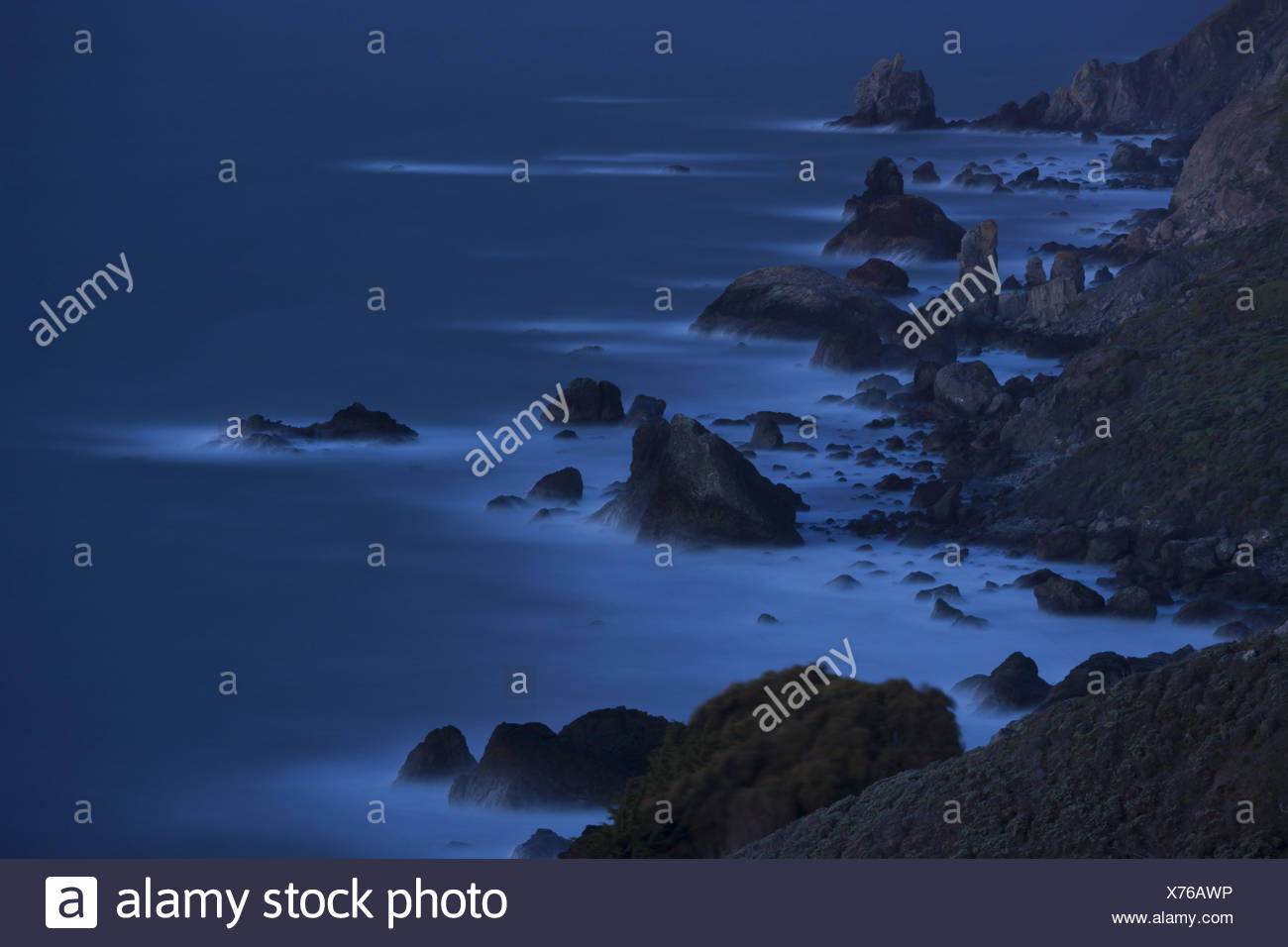 Point Reyes National Seashore coastline, an elevated view along the Pacific Ocean shore in California - Stock Image
