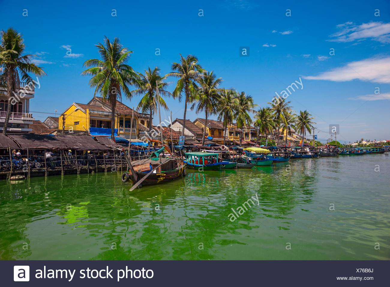 Ships in Thu Bon River in Hoi An, Centre of Vietnam, Asia - Stock Image