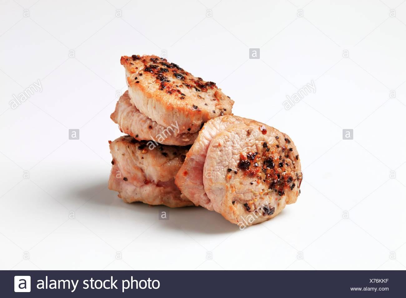 Pan Roasted Pork Tenderloin Medallions Stock Photo Alamy